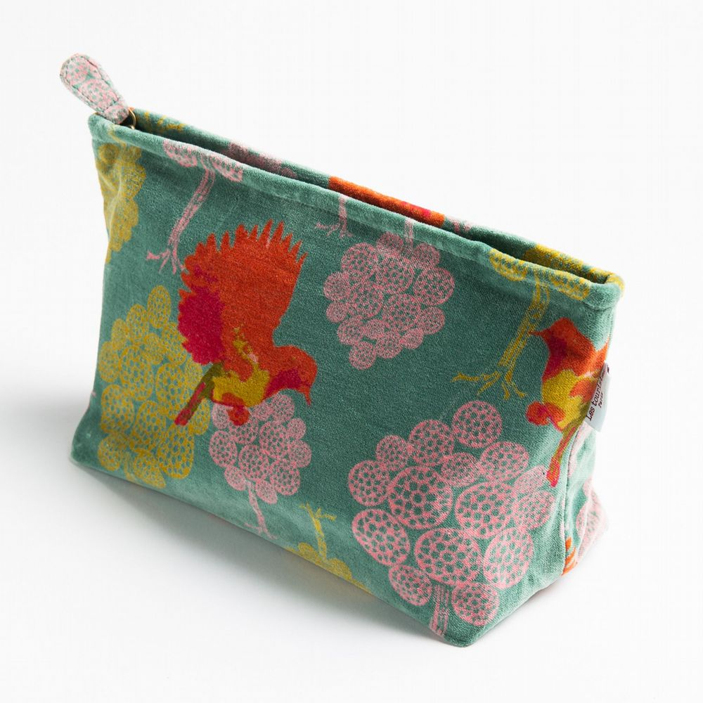 Printed Cotton Velvet - Washbag - Bird Silex